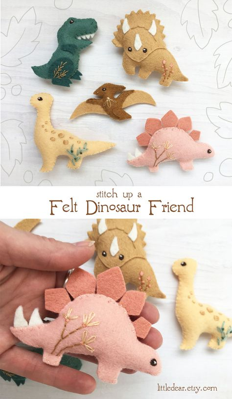Embroidery, craft patterns and kits made just for you by littledear Sweet felt dinosaur friends are so much fun to sew! Get the easy PDF sewing pattern at little dear and make cute dinos for everyone. Easy Sewing Patterns, Craft Patterns, Felt Animal Patterns, Pattern Sewing, Stuffed Animal Patterns, Sewing Toys, Sewing Crafts, Baby Sewing, Felt Diy