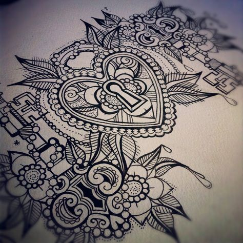 Padlock and Keys Tattoo Flash Sheet