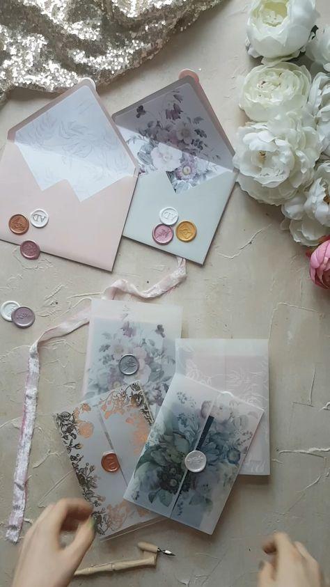 Modern wedding invitation ideas with pastel envelopes