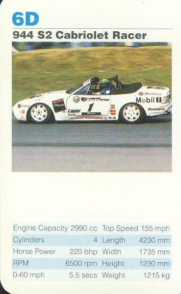 6b 944 Couple Se Porsche Cars Single Top Trumps Card Vintage