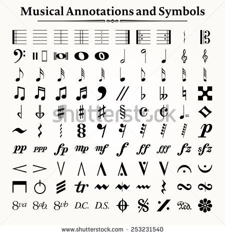 Elements Of Musical Symbols Icons And Annotations Music
