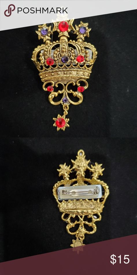 Red Hat Society Gold Crown Red Purple Rhinestone Red Hat Society Gold Crown Red Purple Rhinestone Brooch Pin 3.5