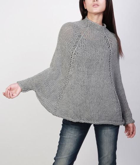 Handknit cotton poncho knit sweater woman Top knit shrug in