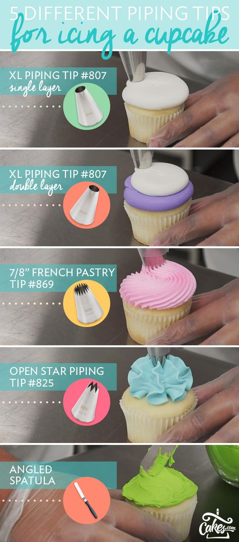 5 different tips for icing cupcakes.