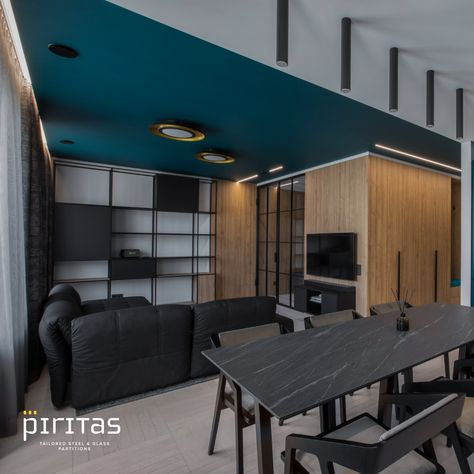 The functional areas of a small apartment, the harmony of colour, and a different interior solution for the practical life of a young person. For this object, PIRITAS made and installed a metal-glass partition in the bedroom, as well as a shower divider. Shower divider was made from stainless steel which was powder coated, so the product will not be affected by corrosion for many decades. Author of the idea: MONOSTUDIO (Arnas Luinevicius); Photos: Andrius Stepankevičius