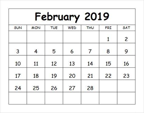 Free Printable February 2019 Calendar Template Februarycalendar