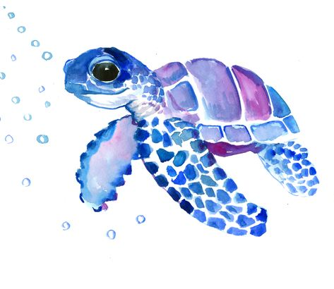 """Blue Purple Sea Turtle, Turtle for nursery Mini Art Print by SurenArt - Without Stand - 3"""" x 4"""""""