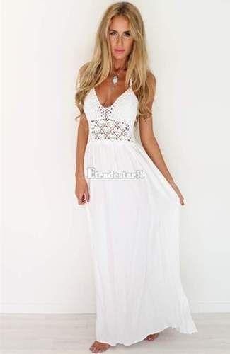 neueste 49b04 8acb5 Weiße lange sommerkleider | Hippie-Mode | Maxi kleider ...