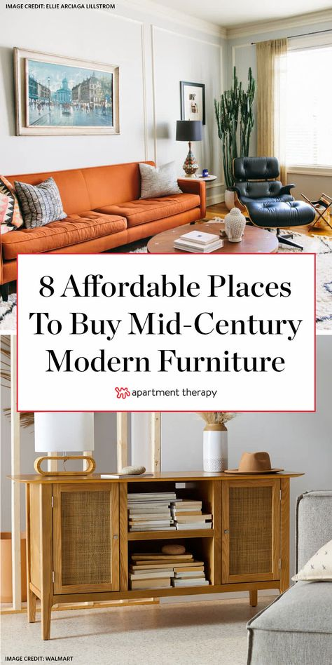 Where To Find Cheap Mid-Century Modern Furniture and Decor Apartment Therapy # Mid Century Living Room, Mid Century Modern Living Room, Mid Century Modern Decor, Mid Century Modern Furniture, Mid Century Interior Design, Mid Century Rug, Mid Century Modern Dresser, Mid Century Style, Mid Century Design