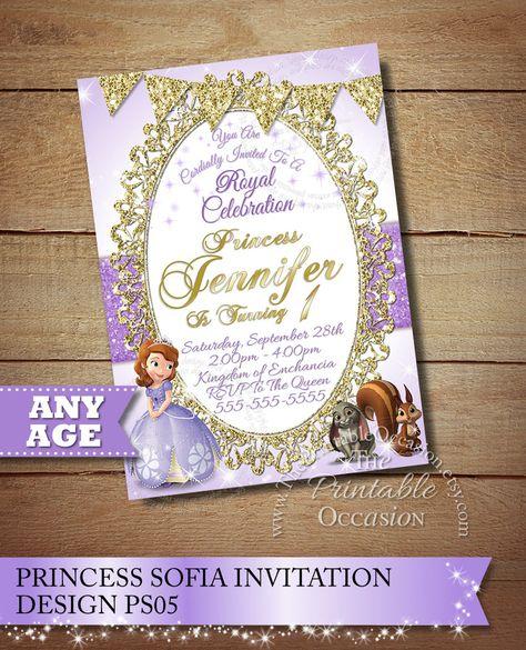 SAME DAY SVC Sofia The First Invitation Princess Sophia Birthday