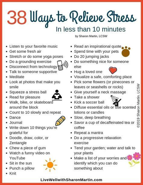 38 Ways to Relieve Stress #stressrelief  #mentalwellness #stressfree #stressmanagement
