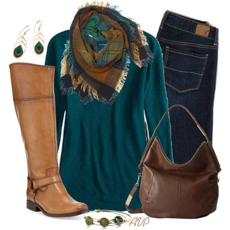 Love the peacock color...Sweater, Scarf, and Boots - Peacock for Fall, created by amy-phelps on Polyvore