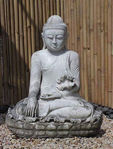 Grand Statue De Bouddha Mandalay Blanc Marbre Sculpture De Jardin