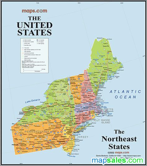 The United States Northeast States map... Yankees ...