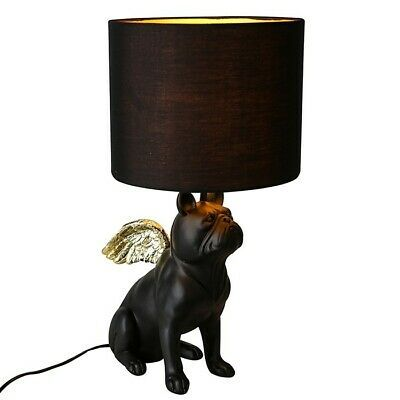 Details About French Bulldog Dog Lamp With Wings Black Resin
