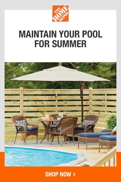 Spend more time relaxing and unwinding by the pool. The Home Depot has what you need to maintain your pool, furnish your deck and more. Get ready to entertain and host all season long. Tap to browse poolside essentials at The Home Depot.