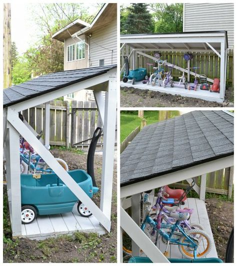 Backyard Bike Storage with an Easy to Install Roof It's easy to install a new roof on a backyard structure like a shed, playhouse, or lean-to.It's easy to install a new roof on a backyard structure like a shed, playhouse, or lean-to.