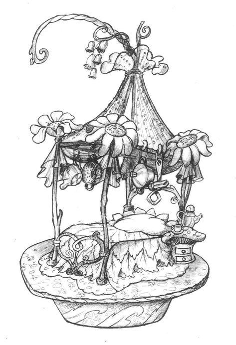 Toy design by Jon Seisa — Please, don't remove credit — Fairy Drawings, Detailed Coloring Pages, Sketches, Drawings, Fantasy Art, Art, Fantasy Tree Drawing, Fairy Art, Art Drawings Sketches Creative
