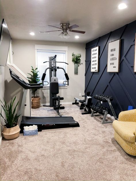 home gym design workout room ~ home gym design + home gym design workout room + home gym design luxury + home gym design basement + home gym design garage + home gym design interior + home gym design ideas + home gym design layout Home Gym Garage, Diy Home Gym, Home Gym Decor, Gym Room At Home, Workout Room Home, Workout Room Decor, Home Exercise Rooms, Best Home Gym Setup, Basement Workout Room