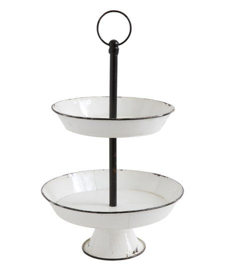White Black Two Tier Metal Pedestal Zulily Tiered Tray Metal Decor Tiered Stand