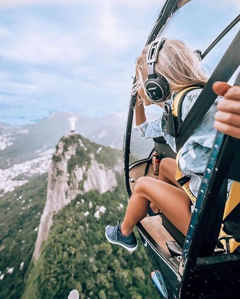 behind angle back perspective creative photography girl Cristo Redentor Concorvado Brazil helicopter Art Globe, Adventure Awaits, Adventure Travel, Oh The Places You'll Go, Places To Travel, Travel Destinations, Travel Pictures, Travel Photos, Brasil Travel