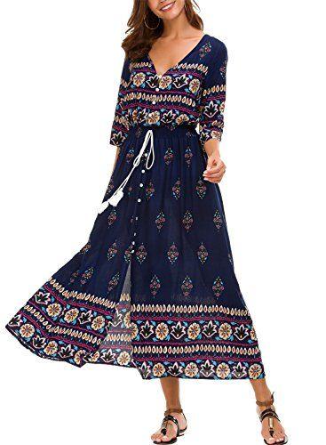 Kormei Damen Blumen Maxikleid Bohemien 3 4 Arm A Linie Lang Kleider Sommerkleid Partykleid Blau Blumen S Partykleid Sommerkleid Langes Kleid Party