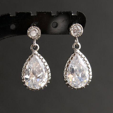 più economico in uso durevole vendite speciali Nozze gioielli orecchini da sposa piccola lacrima Cubic ...