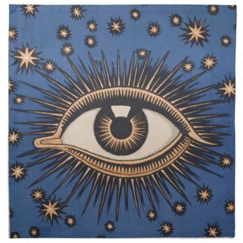 Vintage Celestial Eye Stars Moon Napkin