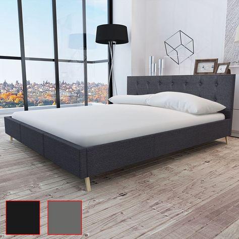 Holz Bett Doppelbett Ehebett Stoffbezug Polsterbett Lattenrost