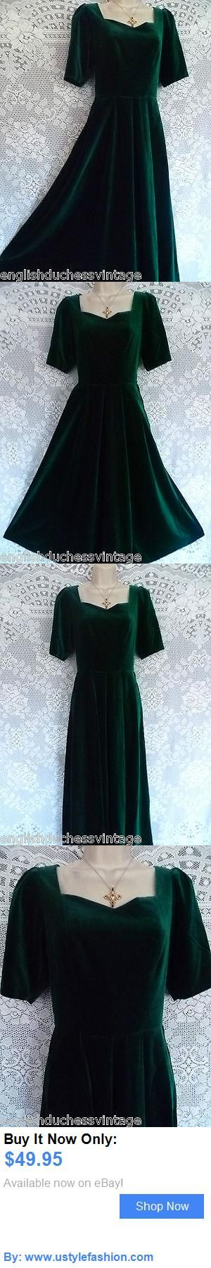 Women vintage reproductions: Vintage Laura Ashley Green Velvet Special Christmas Party Dress, Uk 8 (Label 12) BUY IT NOW ONLY: $49.95 #ustylefashionWomenvintagereproductions OR #ustylefashion