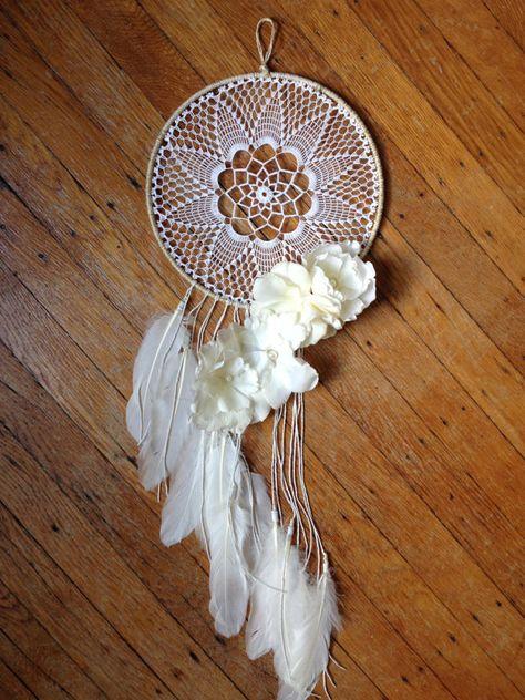 BOHO Wedding Dreamcatcher ~ Crochet Doily, Lace, Flowers, Feathers