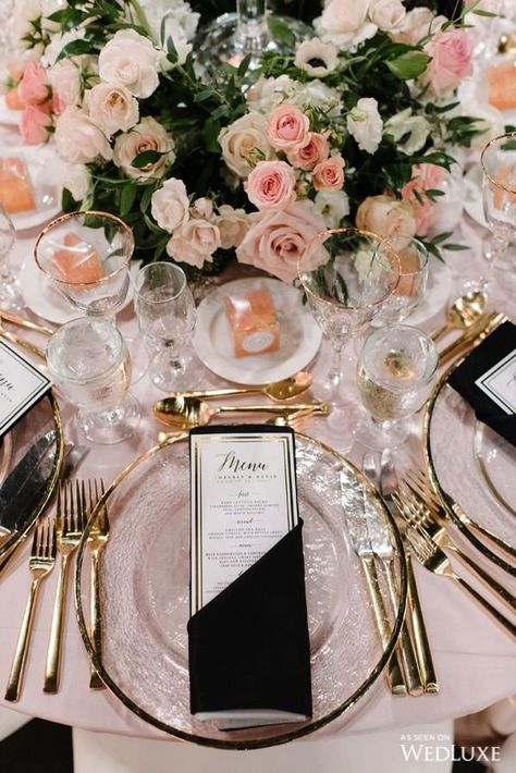 Love the touch of black for this wedding reception decor. Pink wedding decor is romantic and the black adds a little sexy. Glamorous and luxurious tablescape decor for wedding reception. Wedding Receptions, Wedding Events, Reception Ideas, Ballroom Wedding Reception, Reception Activities, Wedding Reception Flowers, Enchanted Garden Wedding, Luxury Wedding Decor, Glamorous Wedding Decor