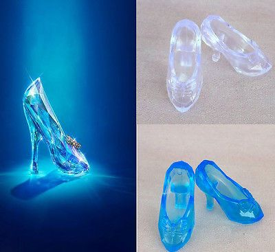 1//6 Barbie Doll Clear Blue Translucent Glass Slipper High Heels Pumps Shoes