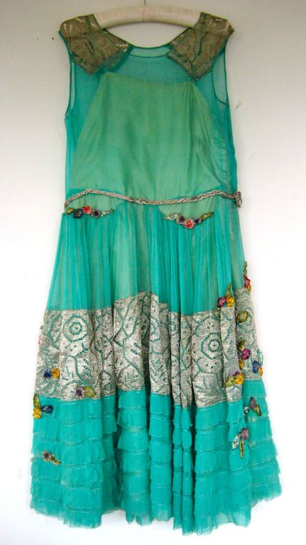 1920s lame ribbon rosette dress