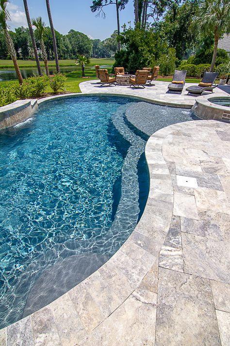 What is Pool Coping? Backyard Pool Landscaping, Backyard Pool Designs, Swimming Pools Backyard, Swimming Pool Designs, Oasis Backyard, Pool Coping, Jacuzzi, Living Pool, Paving Design