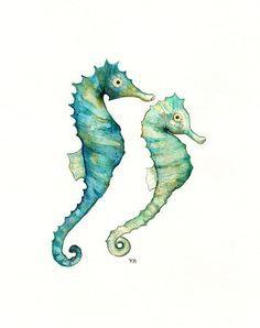 Seahorse Love /watercolor print/teal/light green/aqua/tan/sea/ocean life/ Archival Print. via Etsy.