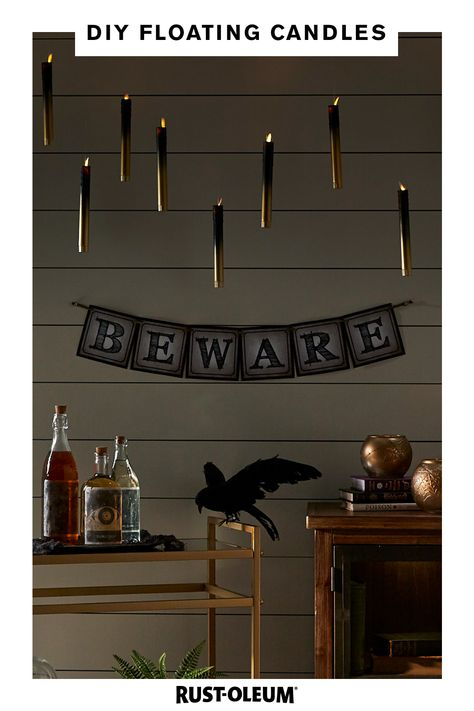 Need your Halloween party to be lit this year? Try these DIY floating candles made with Rust-Oleum Painter's Touch UltraCover Spray Paint and Rust-Oleum Universal Aged Metallic Spray Paint. Diy Halloween Spider Web, Casa Halloween, Halloween Birthday, Outdoor Halloween, Diy Halloween Decorations, Holidays Halloween, Halloween Crafts, Halloween Photos, Halloween 2020