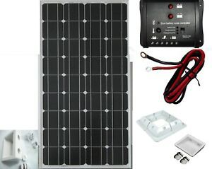100w Solar Panel Kit For Caravan Motorhome Brackets 12v Dual Charge Ebay Solar Panels Solar Panel Battery Flexible Solar Panels