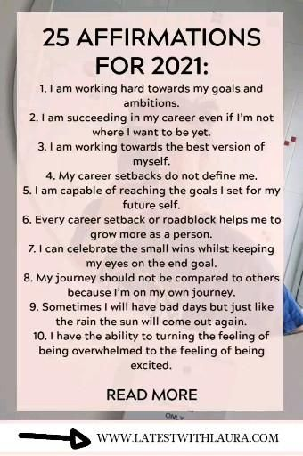 Want to make 2021 your most successful year? It all starts with mindset. Use these twenty five positive affirmations to align your career and financial goals.