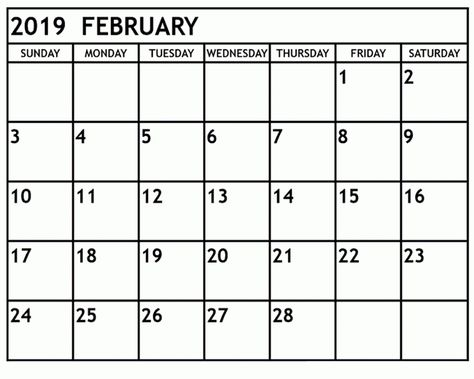 Get Free February 2019 Landscape Portrait Calendar Templatefebruary