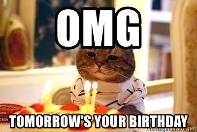 Omg Tomorrow S Your Birthday Birthday Cat Happy Birthday Mom Funny Happy Birthday Mom Quotes Cat Birthday Memes