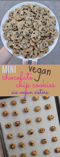 Vegan Mini Chocolate Chip Cookies by Six Vegan Sisters