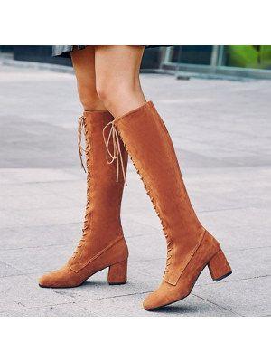 Plain Chunky High Heeled Velvet Round Toe Date Outdoor Thigh High High Heels Boots