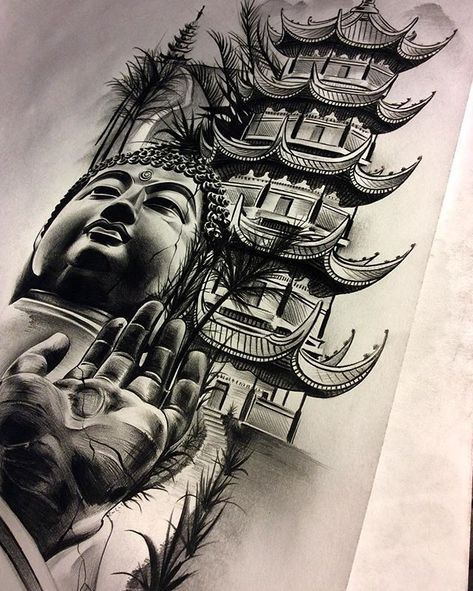 Finished Up The Buddha Temple Meditation Piece Inner Forearm