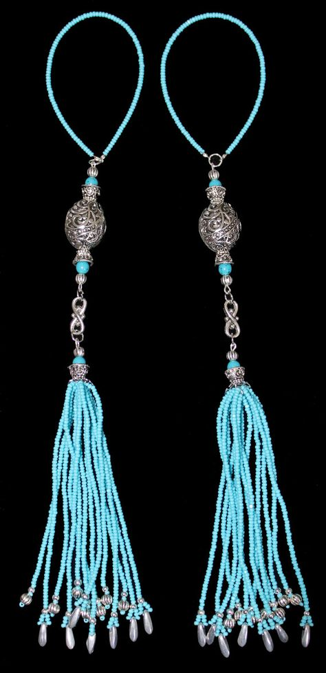 BEADED TASSELS  Turquoise and Pewter beads by GMBDesignsCustom, $29.00