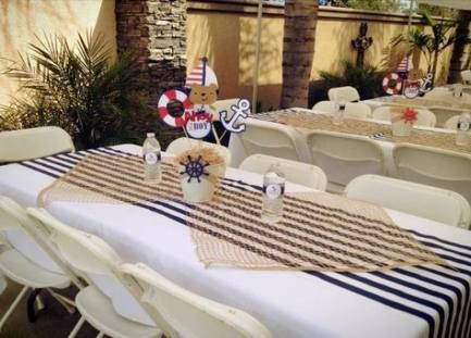 New Party Table Decorations Blue Burlap Runners Ideas Nautical Baby Shower Boy Baby Shower Table Cloths Nautical Baby Shower
