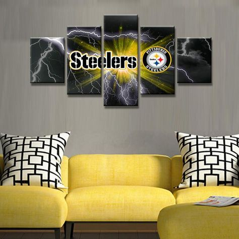 Pittsburgh Steelers Football Canvas Print Wall Art Five Piece Home Decor Pittsburgh Steelers Football Steelers Football Pittsburgh Steelers Man Cave