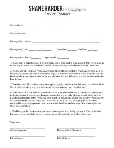 wedding photography contract   wedding photography forms - wedding contract templates