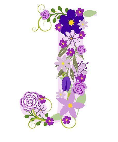 'Floral Letter J - Alphabet Letters Pink Purple Flower ' Poster by BullQuacky