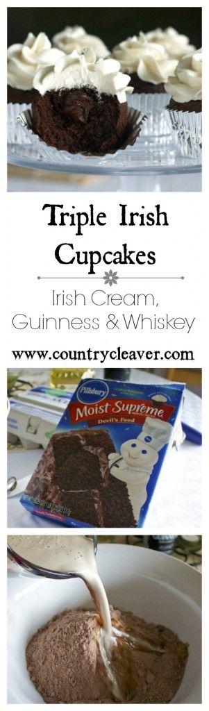 Triple Irish Cupcakes - With Irish Cream Buttercream, Chocolate Stout Cupcakes and Whiskey Chocolate Ganache Inside - www.countrycleaver.com.jpg